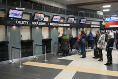 People buy y tickets at railroad ticket office Stock Photography