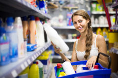 People buying detergents  in the shopping mall Royalty Free Stock Photo