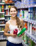 People buying detergents  in the shopping mall Royalty Free Stock Images