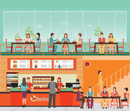 People Buying Fast Food at Fast food restaurant interior with ha Royalty Free Stock Image