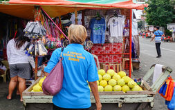 People buying fruits on street in Chinatown, Manila Stock Photography