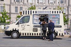 People buying ice creams, Liverpool. Royalty Free Stock Images