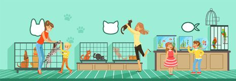 People buying pets from pet store Illustration in flat style. Web design Royalty Free Stock Images