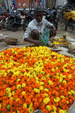 People buying and selling flowers and garlands at the flower market in Kolkata Stock Images