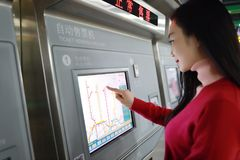 People buying ticket automatic machine Royalty Free Stock Photography