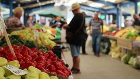 People Buying Vegetables stock footage