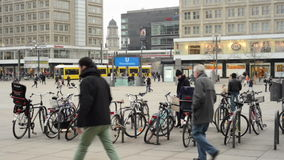 People, Cable car and train traffic at Berlin district Mitte at Alexanderplatz. MITTE, BERLIN/ GERMANY FEBRUARY 10 2015: People, Cable car and train traffic at stock video
