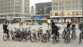 People, Cable car and train traffic at Berlin district Mitte at Alexanderplatz. stock video