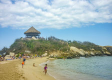 People at Cabo San Juan Beach in Colombia Royalty Free Stock Images