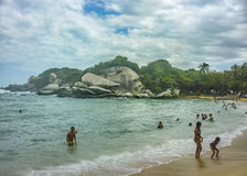 People at Cabo San Juan Beach in Colombia Stock Image