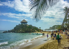 People at Cabo San Juan Beach in Colombia Royalty Free Stock Photography