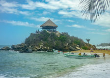 People at Cabo San Juan Beach in Colombia Royalty Free Stock Photos