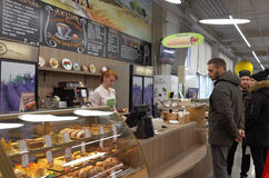 People in cafe of the fulfillment center of Ulmart company in St. Petersburg Stock Photo