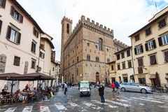 People and cafe on Piazza San Firenze in Florence Royalty Free Stock Photo