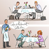 People at cafe and restaurant. Colorful version, part 3 Royalty Free Stock Image