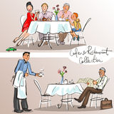 People at cafe and restaurant. Colorful version, part 1 Royalty Free Stock Images