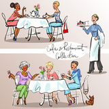 People at cafe and restaurant. Colorful version, part 2. People at cafe and restaurant - Hand drawn Collection. Colorful version, part 2 Royalty Free Stock Photos