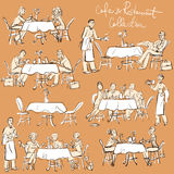 People at cafe and restaurant - Hand drawn Collection. Royalty Free Stock Images