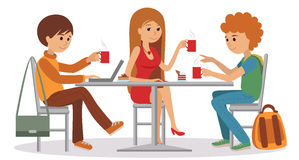 People at cafe and restaurant. Vector illustration of coffee break on white background. Three students friends talking friendly at coffee shop while drinking royalty free illustration