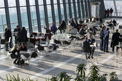 People in cafe the Walkie Talkie building on 20 Fenchurch Street . Stock Images