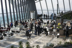 People in cafe the Walkie Talkie building on 20 Fenchurch Street . Royalty Free Stock Image