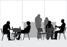 People in cafes. Drawing people in cafes. Scene from city life Royalty Free Stock Image