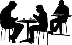 People at the cafeteria stock illustration