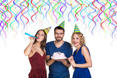 People with cake celebrate happy birthday Stock Photography