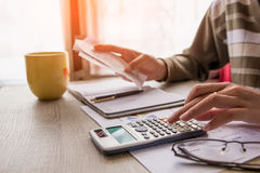 People calculate about cost at home ,Finance managers task. Stock Image