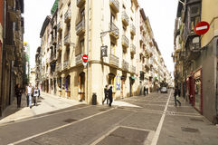 People on Calle Nueva in Pamplona city center Royalty Free Stock Images