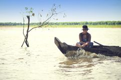 People from Cambodia. Tonle Sap lake Royalty Free Stock Photos