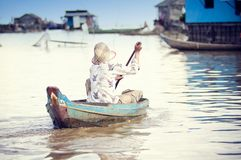 People from Cambodia. Tonle Sap lake Stock Photography