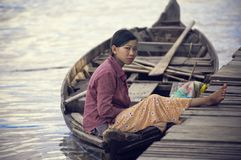People from Cambodia. Tonle Sap lake royalty free stock image