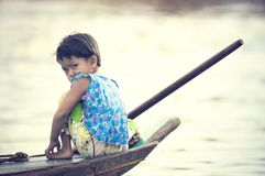 People from Cambodia. Tonle Sap lake Royalty Free Stock Photography