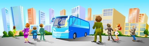People came by bus to buy Real Estate. Stock Photos