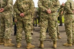 People in camouflage. Photo of People in camouflage royalty free stock photography
