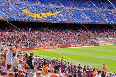 People at the Camp Nou Stadium prior to the La Liga match between FC Barcelona and Getafe CF Royalty Free Stock Photos