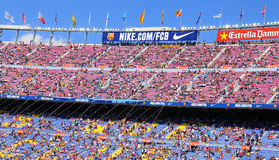 People at the Camp Nou Stadium prior to the La Liga match between FC Barcelona and Getafe Stock Photos