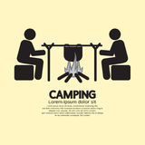 People With Campfire Camping Symbol Stock Photography