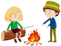 People camping out by the fire. Illustration Stock Photos