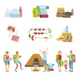People Camping And Their Equipment Set Stock Images