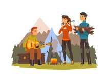 People camping, tourists sitting near fire, playing guitar and cooking, outdoor adventures travel, backpacking trip or stock illustration