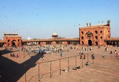 People in the campus of Jama Masjid/Mosque royalty free stock image