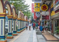 People can seen exploring around Brickfields Little India in KL Royalty Free Stock Photography