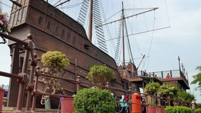 People can seen exploring around the Maritime Museum Malacca. Malacca,Malaysia -May 3,2019: People can seen exploring around the Maritime Museum Malacca. The stock video