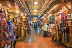 People can seen exploring and shopping around the Central Market. It is a cultural heritage site with restored art deco facade off Stock Photo