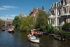 People on the canal boats Stock Image