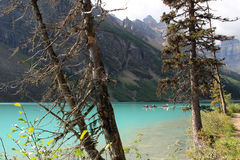 People canoeing on Lake Louise, Alberta, Canada Stock Image