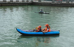 People canoeing on scenic lake in summer, shanghai Royalty Free Stock Images