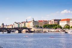 People canoeing on Vltava river. Prague, Czech Republic stock image